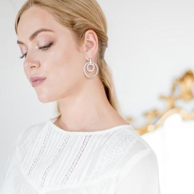 Срібні сережки в стилі BVLGARI (4778)