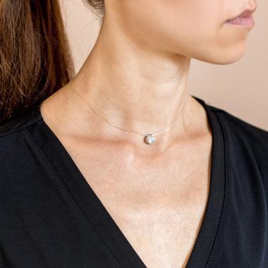 Срібна намистина на силіконовому шнурі (8025)