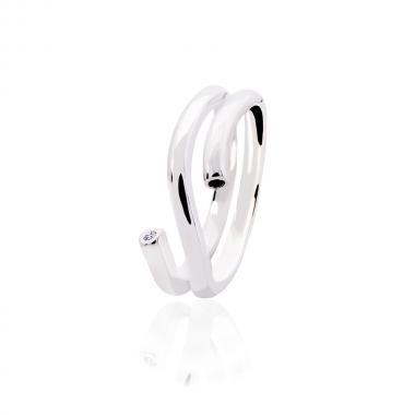 """Серебряное безразмерное женское кольцо """"Абстракция"""" (3837)"""