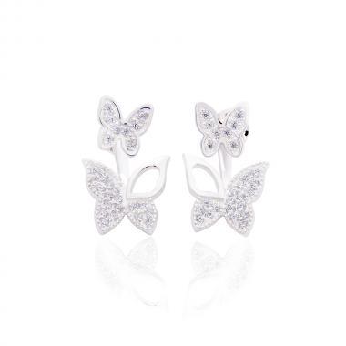 """Срібні сережки-гвоздики """"Метелики"""" (4822)"""