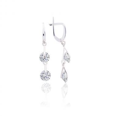 """Срібні сережки"""" Два камінчика"""" (4833)"""