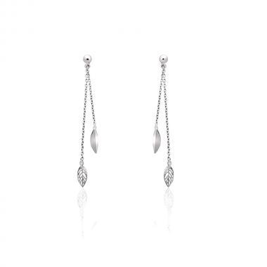 """Срібні сережки-гвоздики """"Листочки"""" (4841)"""