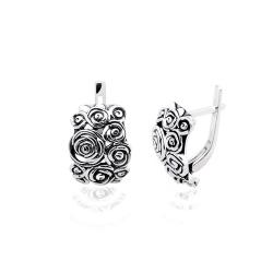 """Срібні сережки """"Троянди"""" (4854)"""