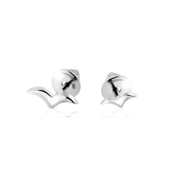 """Серебряные серьги-гвоздики """"Птицы"""" (4874)"""