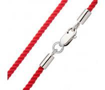 Красная плетёная шёлковая нить с серебром (8003.3.1)