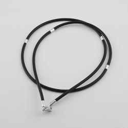 Шнурок каучуковый с серебряными вставками (8001)
