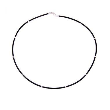 Шнурок силіконовий зі срібними вставками (8011)