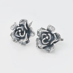 """Срібні сережки """"Роза"""" (4755)"""