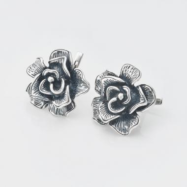 """Серебряные серьги """"Роза"""" (4755)"""