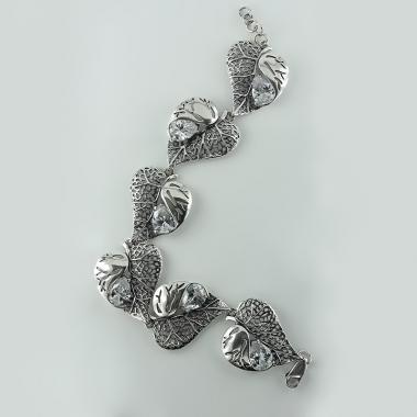 """Жіночий срібний браслет """"Листочок"""" (2020.6)"""