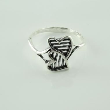 "Серебряное кольцо  ""Два сердца"" (3646)"