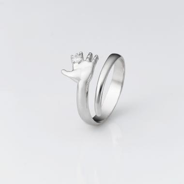"Серебряное безразмерное кольцо ""Ручка младенца"" (3766)"