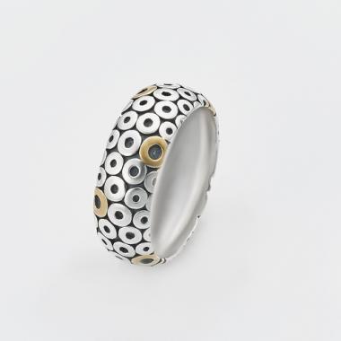 Серебряное кольцо с позолотой в стиле PANDORA (3802)