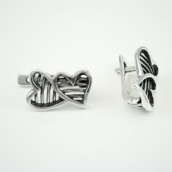 """Серебряные серьги  """"Два сердца"""" (4427)"""
