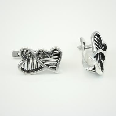 """Серебряные серьги  """"Два сердца""""(4427)"""