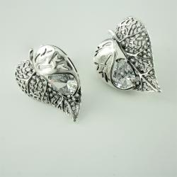 """Срібні сережки """"Листочок"""" (4653)"""