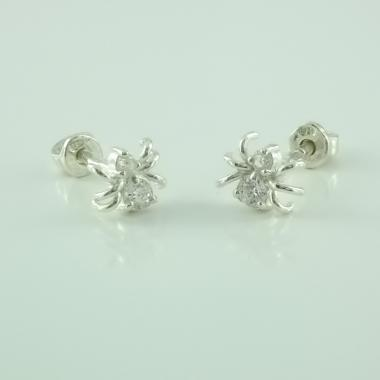 """Срібні сережки-гвоздики """"Павуки"""" (4656)"""