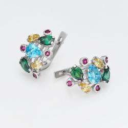 Серебряные серьги с цветными камнями (4689)