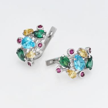 Срібні сережки з кольоровими каменями (4689)