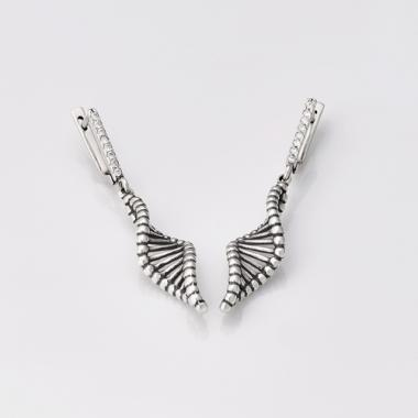 """Срібні сережки """"ДНК"""" (4715)"""