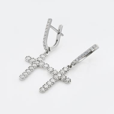 """Срібні сережки """"Хрест"""" (4748)"""