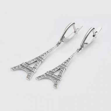 """Срібні сережки """"Ейфелева вежа"""" (4750)"""