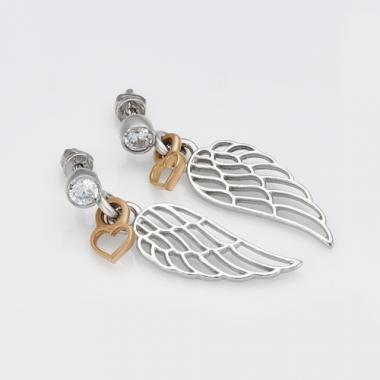 """Серебряные серьги-гвоздики  с позолотой """"Крылья ангела"""" (4756)"""