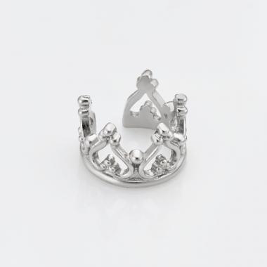 "Срібна сережка каффа ""Корона"" (4760)"