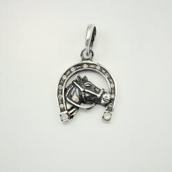 """Срібний кулон """"Кінь з підковою"""" 7032"""