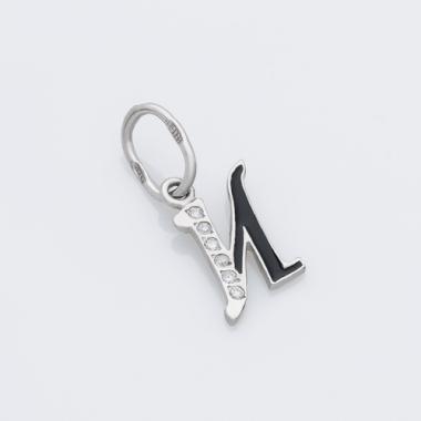 """Срібний кулон-літера """"И"""" (7057і)"""