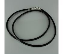 Шнурок кожаный с серебром (8009)