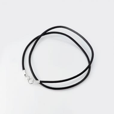 Шнурок кожаный с серебром (8016)
