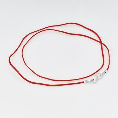 Шовкова червона нитка з сріблом на шию (8022)