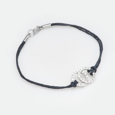 Срібний браслет BVLGARI з шовковою ниткою (8023)