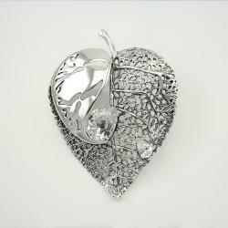 """Срібна брошка """"Листочок"""" (9505)"""